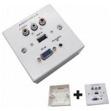 CAJA CONEXIONES VGA + JACK3.5 + USB2.0 + 3XRCA