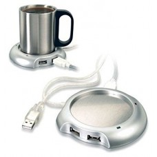 Calentador Taza Hub USB Plata