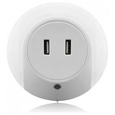 Enchufe Punto Luz LED Cálida con Sensor + 2 Puertos Carga USB
