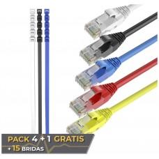 Pack 5 Cables Ethernet CAT6 RJ45 24AWG 0.5m + 15 Bridas Max Connection (Espera 2 dias)