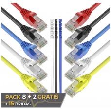 Pack 10 Cables Ethernet CAT6 RJ45 24AWG 0.5m + 15 Bridas Max Connection (Espera 2 dias)