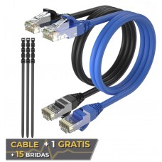Pack 2 Cables Ethernet CAT6 RJ45 24AWG 3m + 15 Bridas Max Connection (Espera 2 dias)
