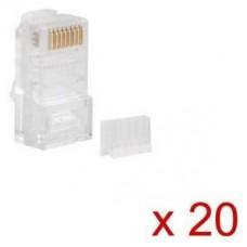 CONECTOR CAT.6 LANBERG UTP 8P8C PACK 20 UDS