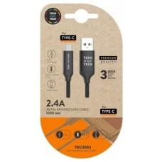 CABLE USB(A) 2.0 A USB(C) 2.0 TECH ONE TECH 1M NEGRO
