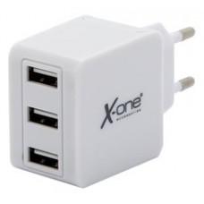 X-One cargador pared 3x USB 3.1A Blanco